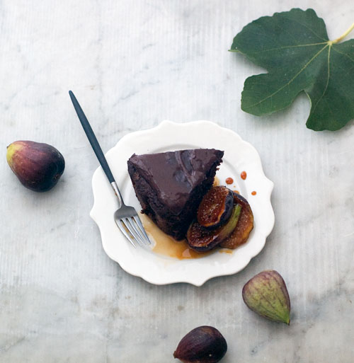 Chocolate Yoghurt Cake with Figs