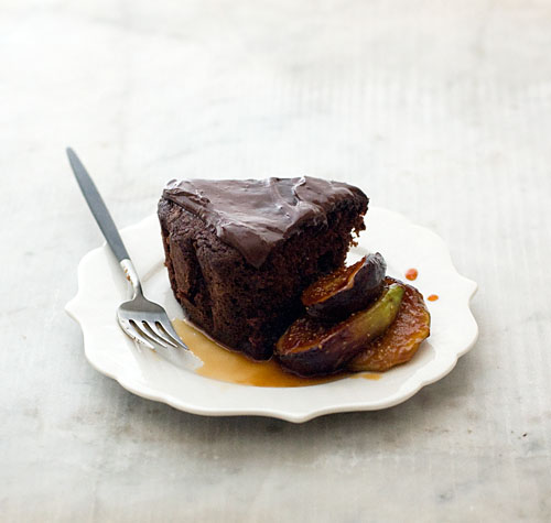 Chocolate Yoghurt Cake and Figs